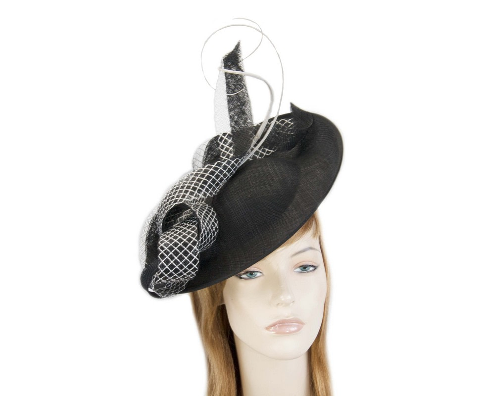 Large black plate fascinator by Max Alexander