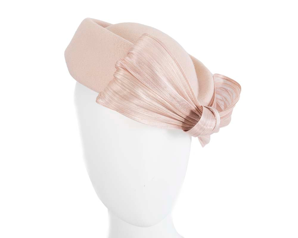 Beige Jackie Onassis style felt beret by Fillies Collection