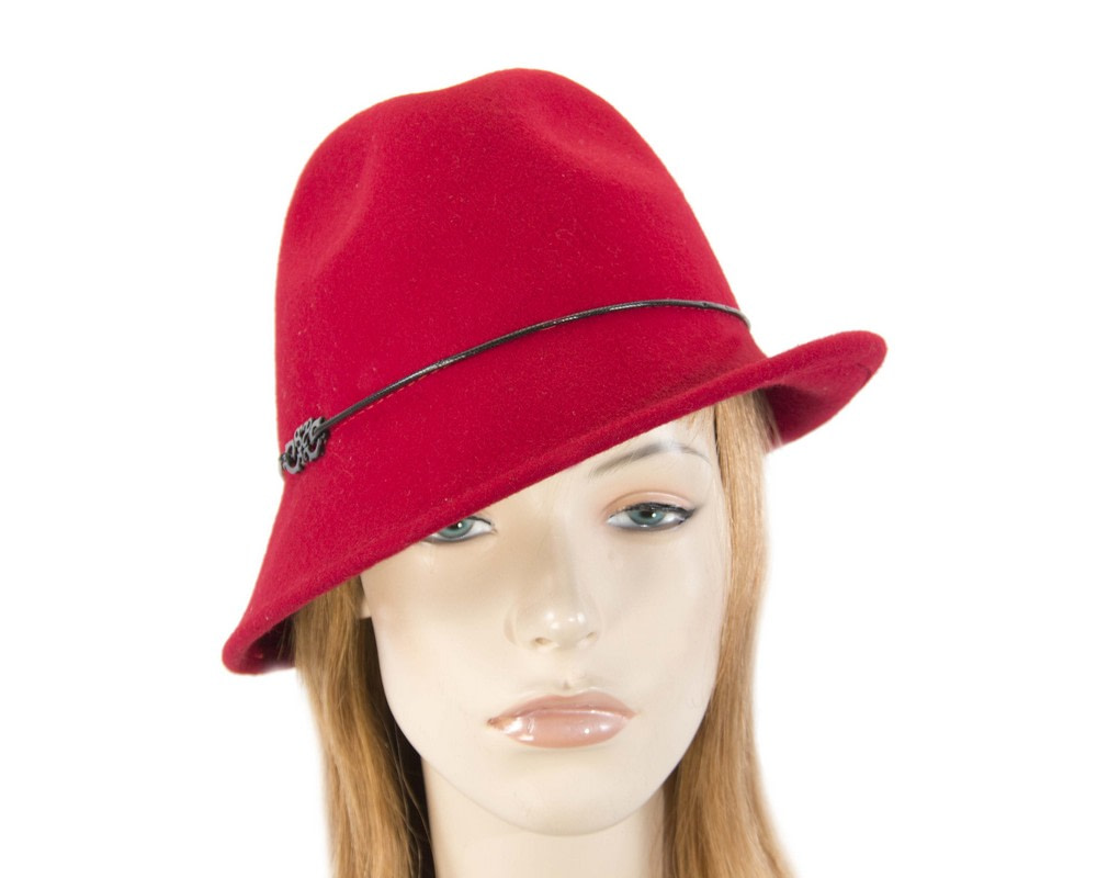 Red felt ladeis winter fedora hat