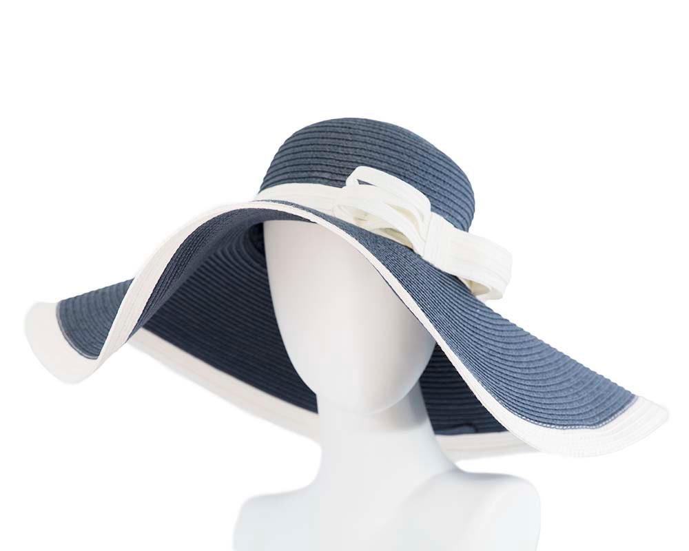 Wide brim floppy navy hat