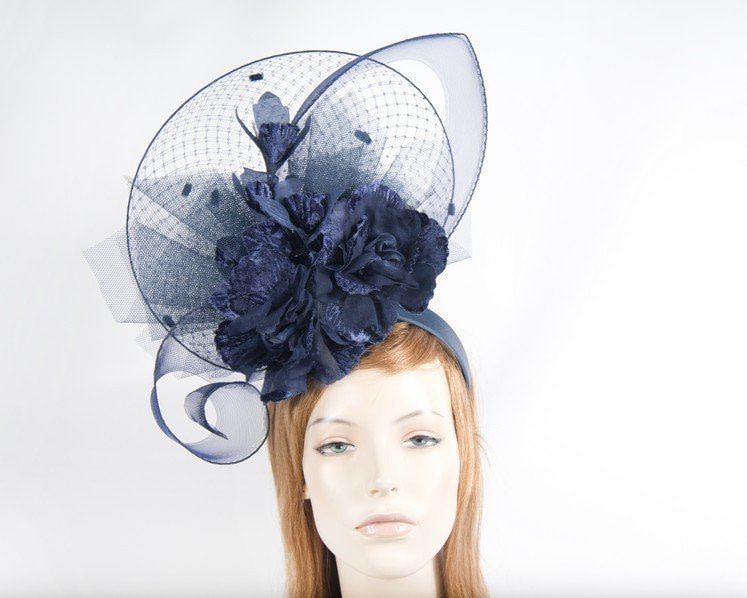 Navy bespoke fascinator