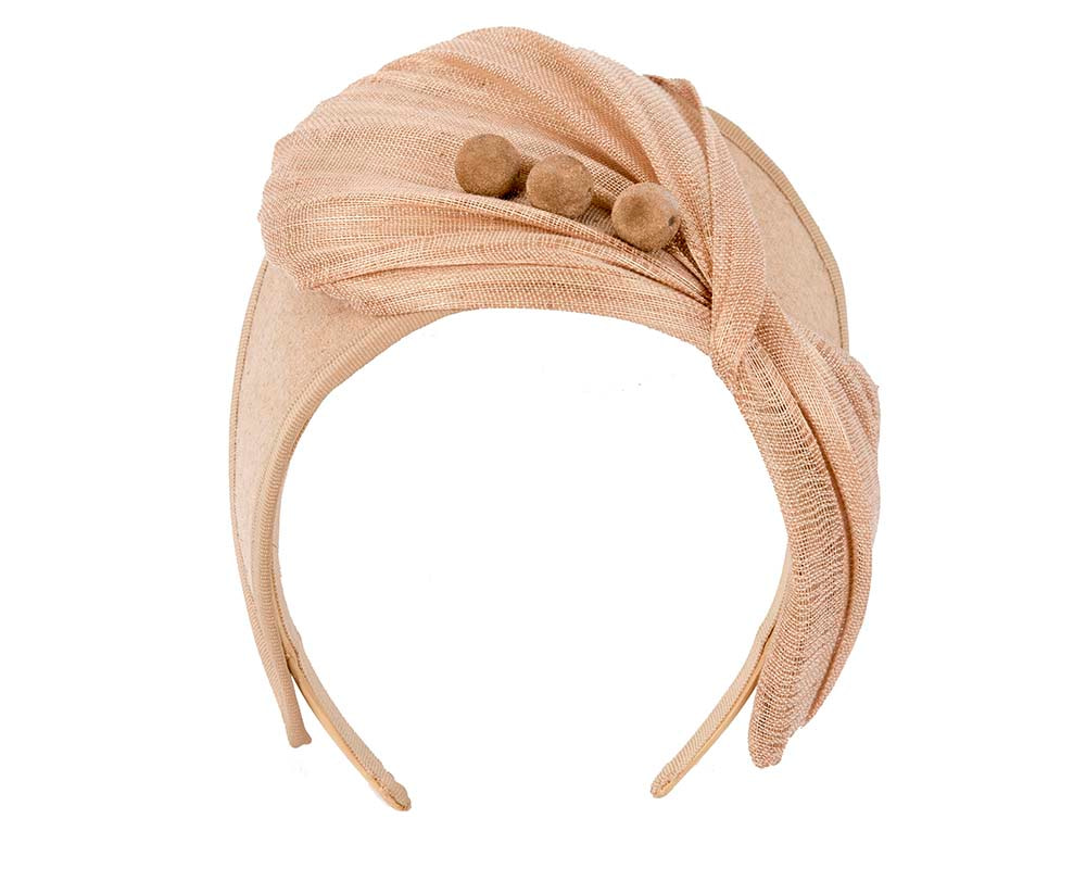 Beige crown winter fascinator by Fillies Collection