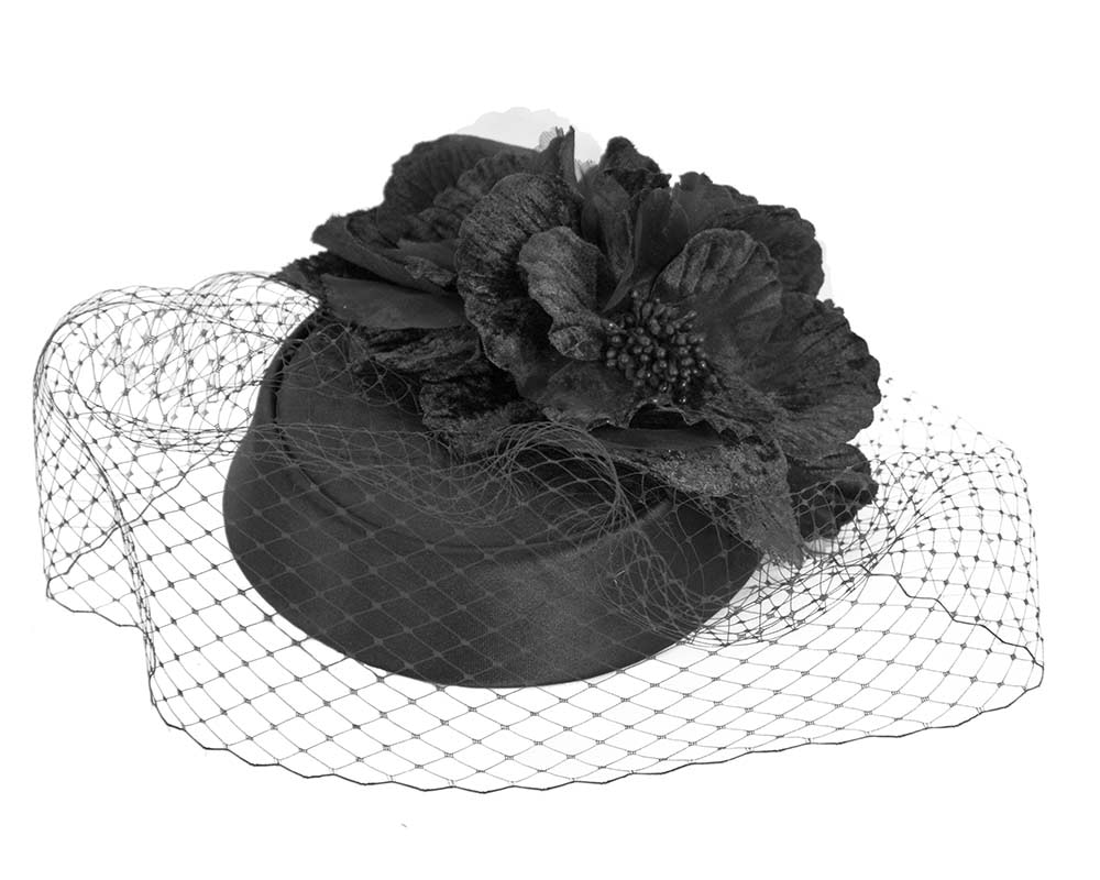 Custom made black pillbox hat with flowers & face veiling