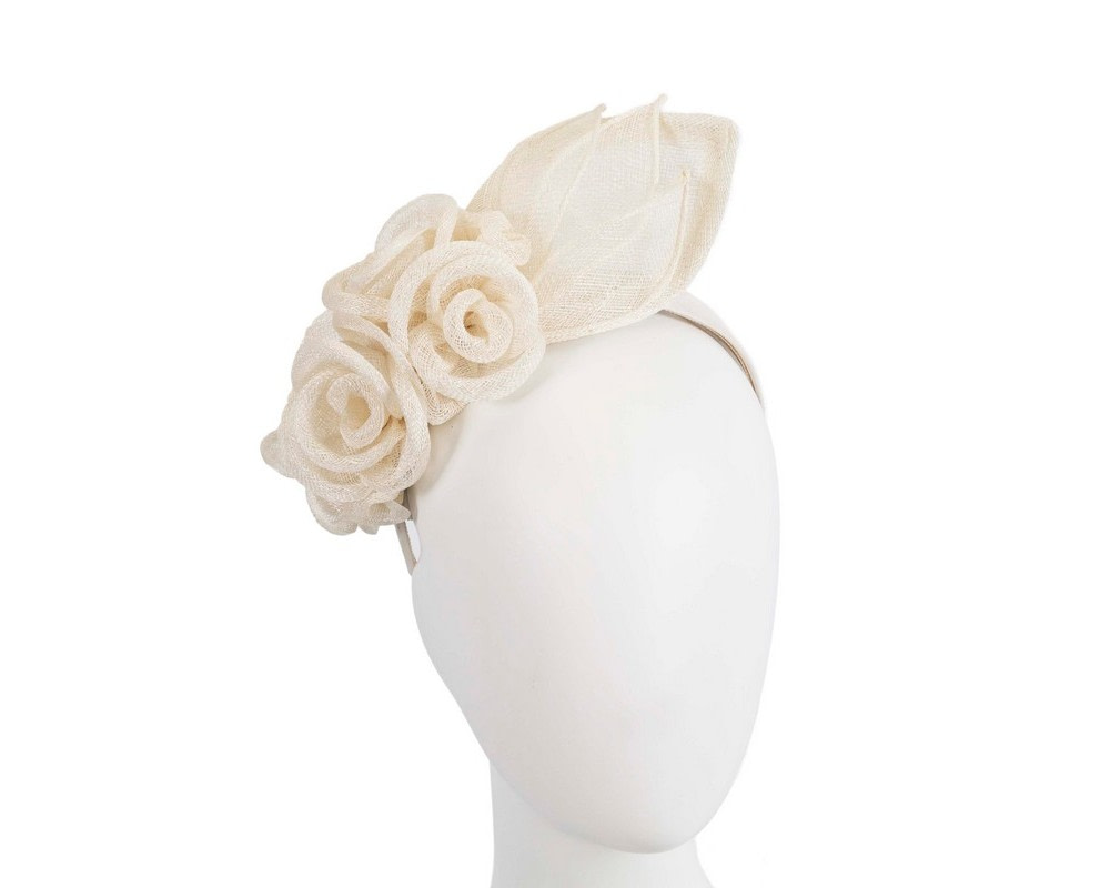Large cream sinamay  flower fascinator by Max Alexander