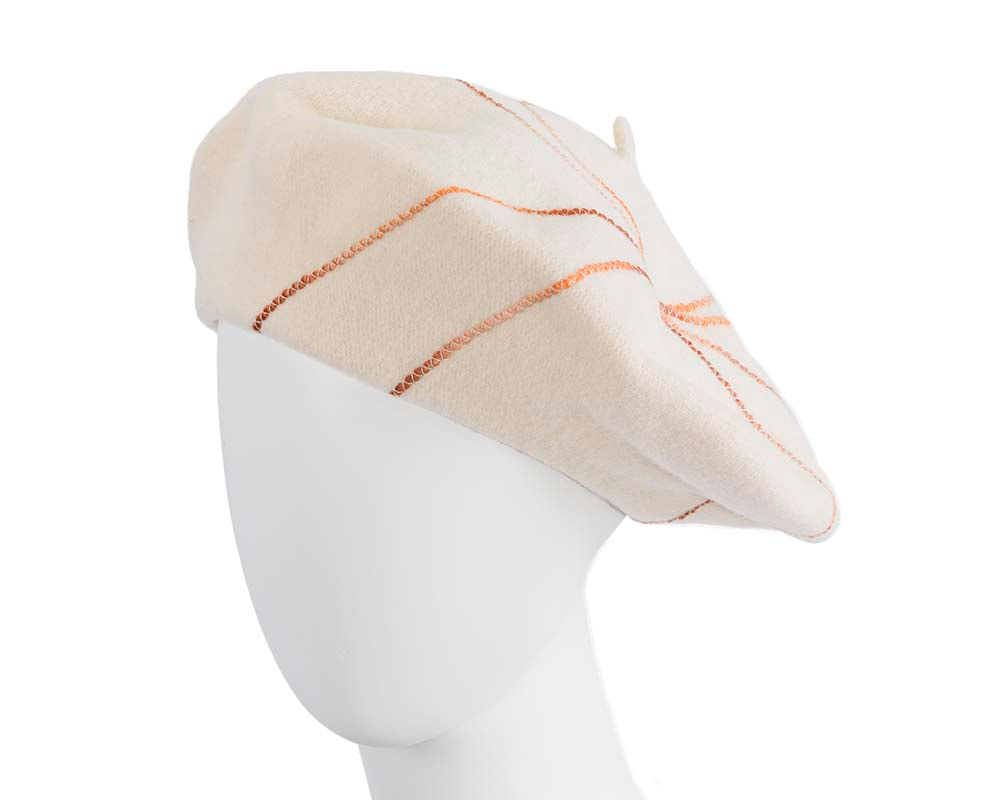 Cream french beret with spirals by Max Alexander