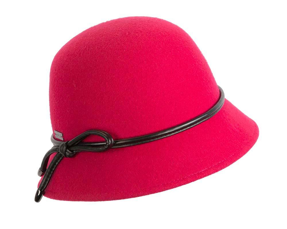 Short brim raspberry red cloche hat by Betmar Hats