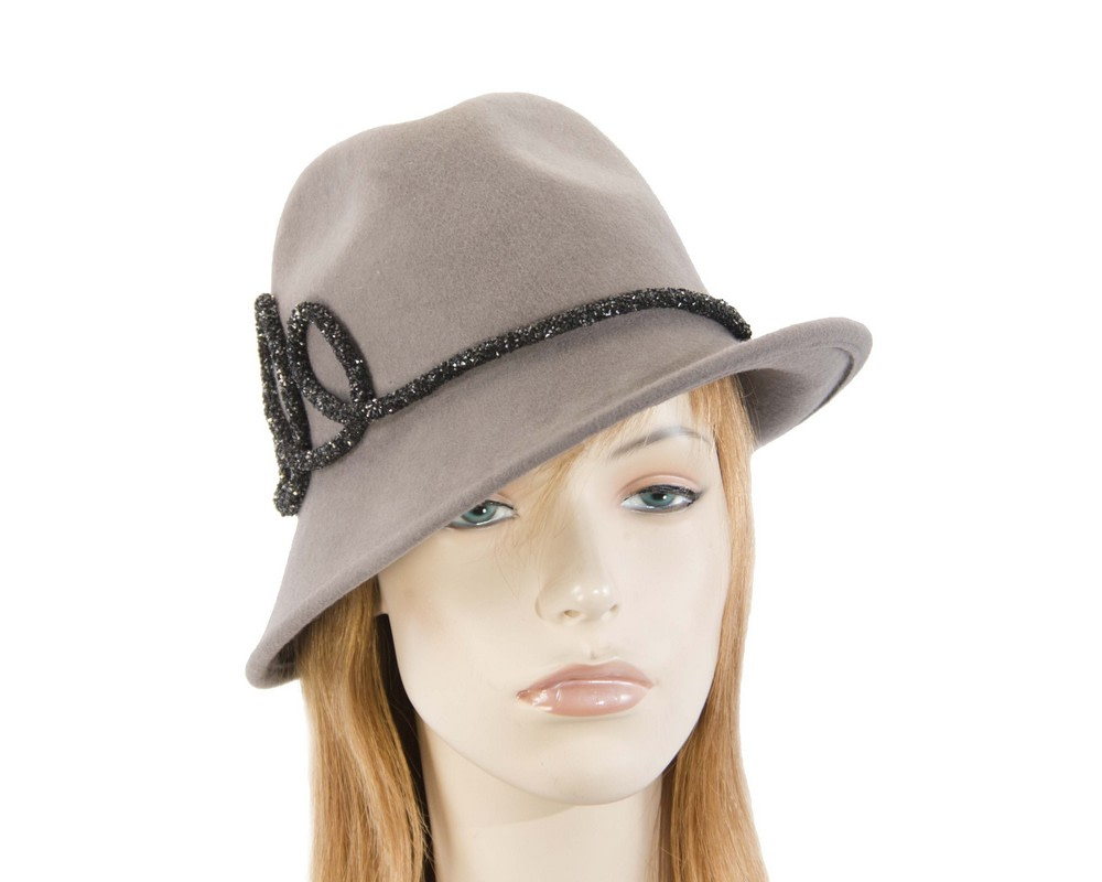 Designers grey felt ladies fedora hat