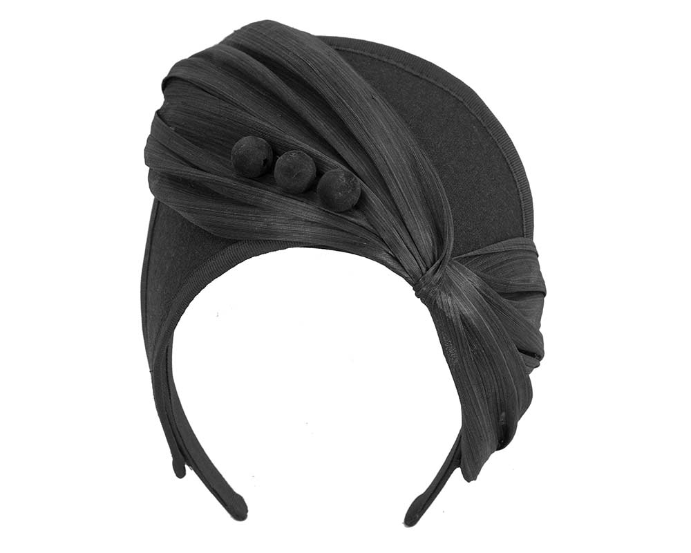 Black crown winter fascinator by Fillies Collection