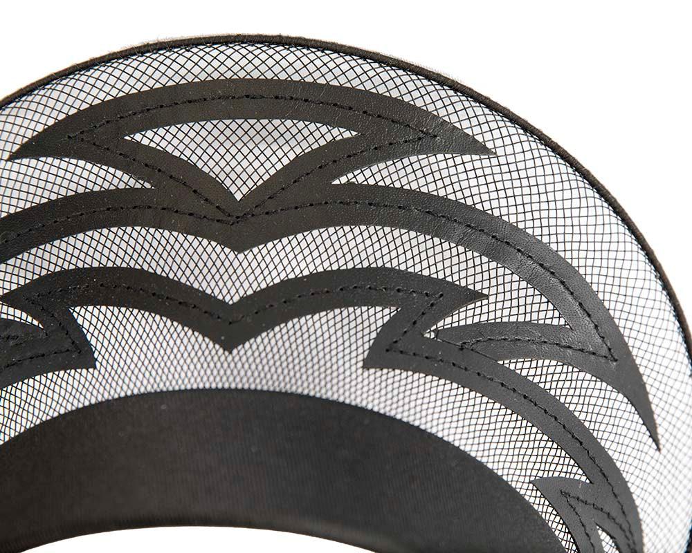 Exclusive laser-cut black crown fascinator