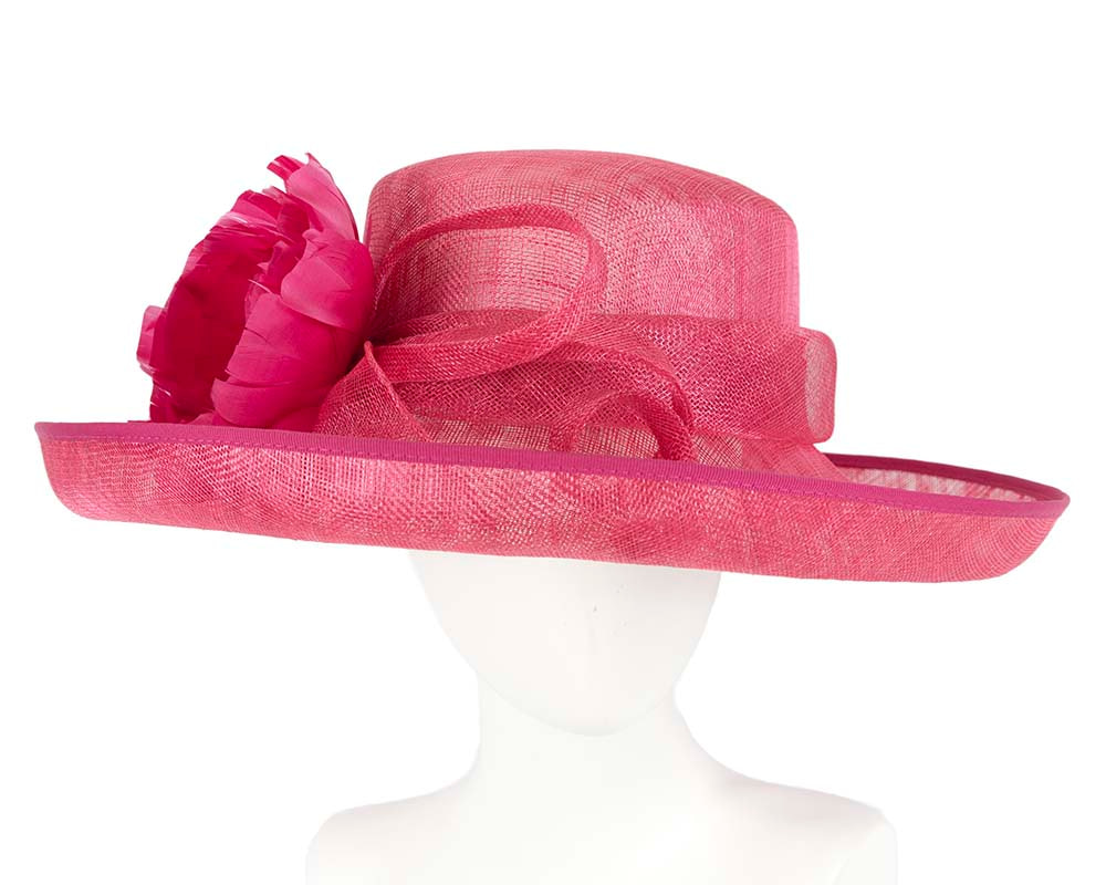 Raspberry red racing hat by Cupids Millinery Melbourne