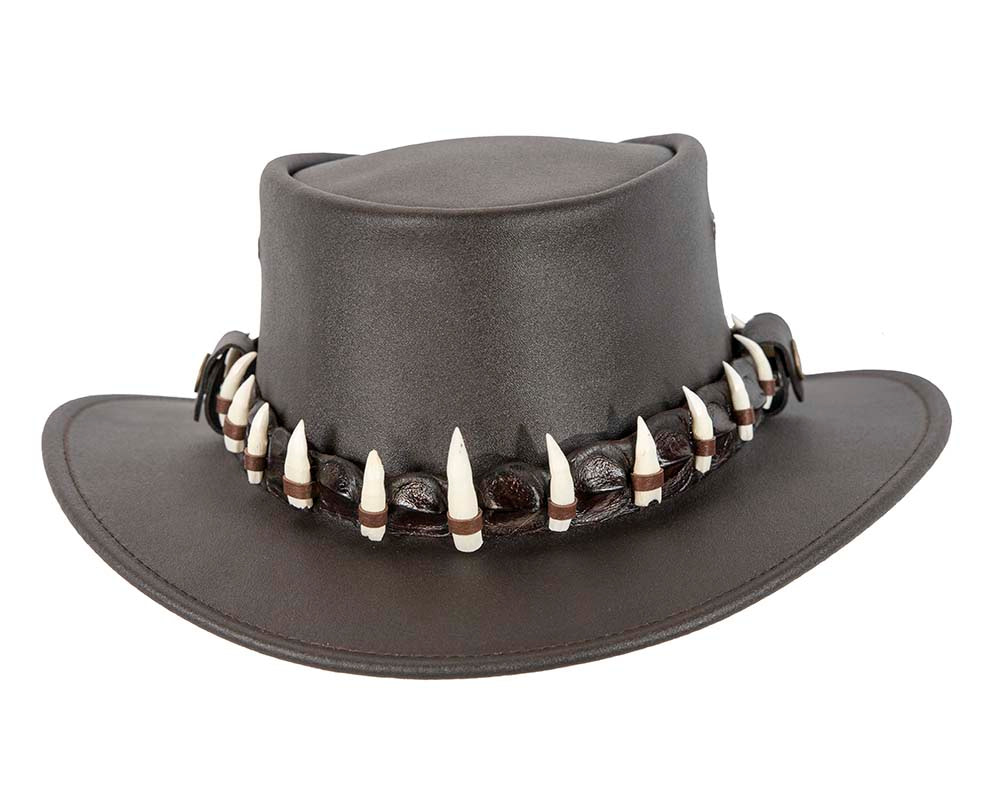 Australian Leather Outback Jacaru Hat with 17 Crocodile Teeth