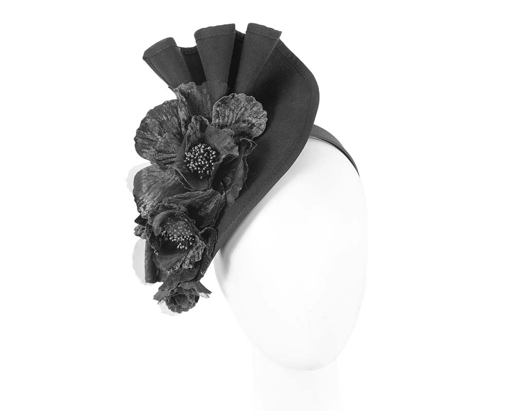 Large black felt flower winter fascinator by Fillies Collection