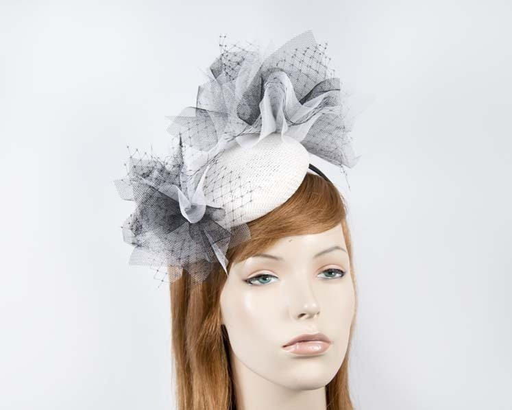 Kinky white & black pillbox for Melbourne Cup races