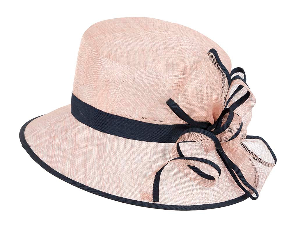 Bucket Pink and Navy sinamay hat by Cupids Millinery