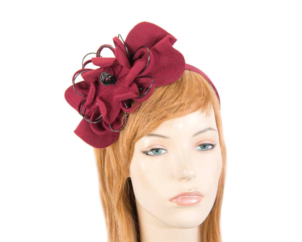 Wine felt flower racing fascinator