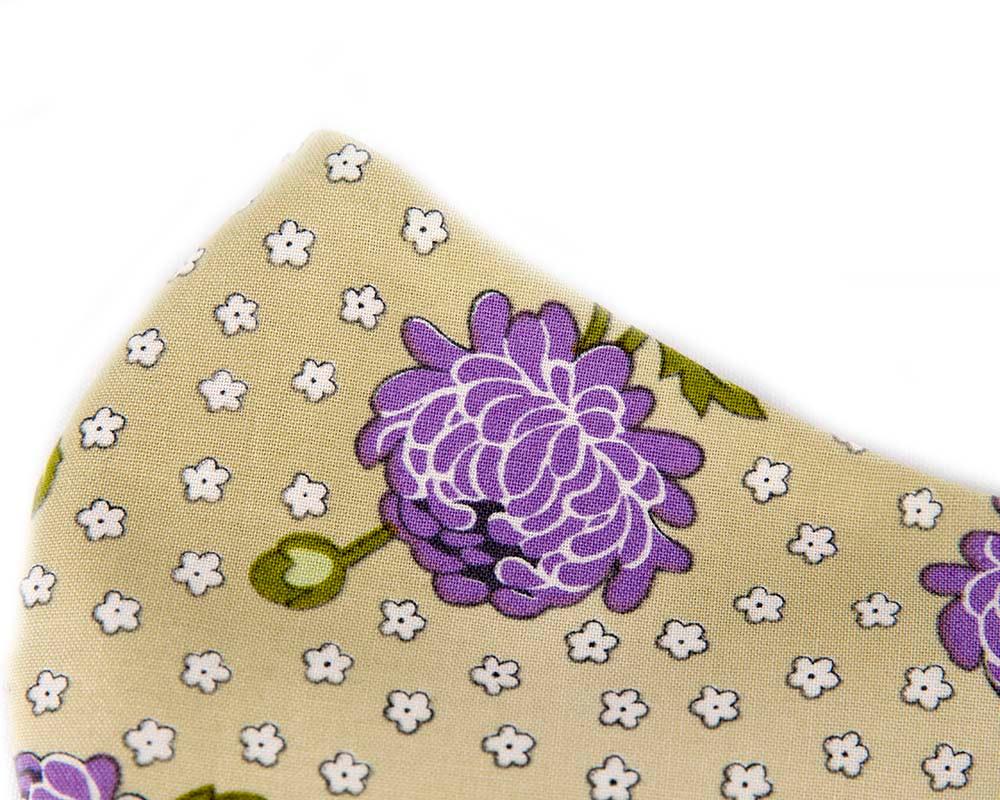 Comfortable re-usable cotton face mask purple flowers