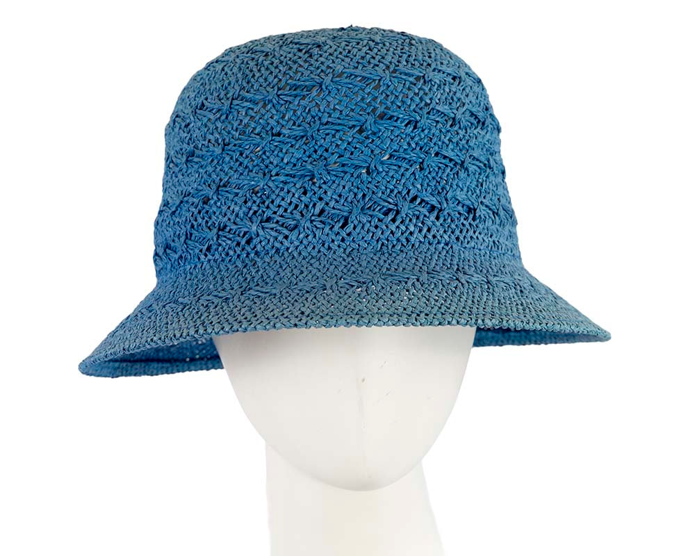 Crocheted cobalt blue cloche hat