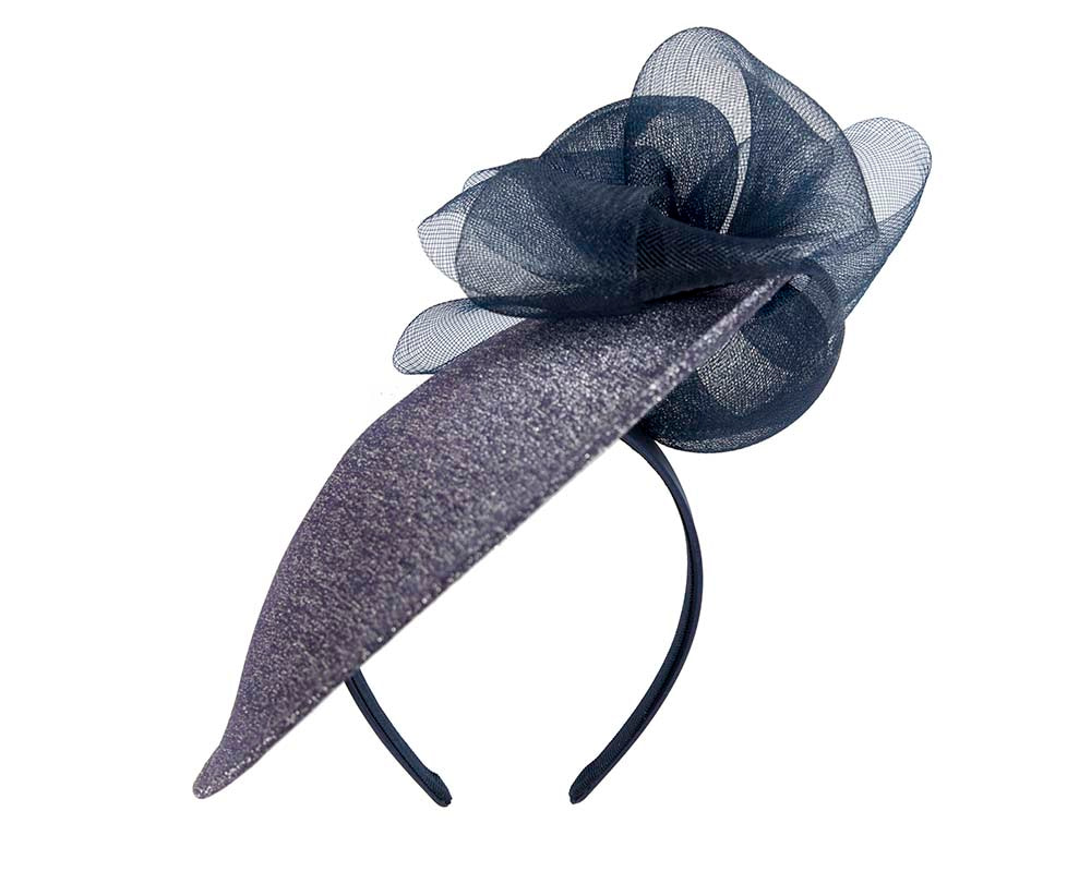 Large designers navy fascinator by Cupids Millinery