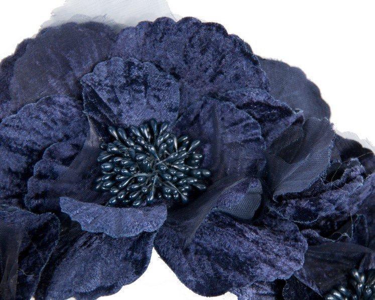 Navy flower halo fascinator