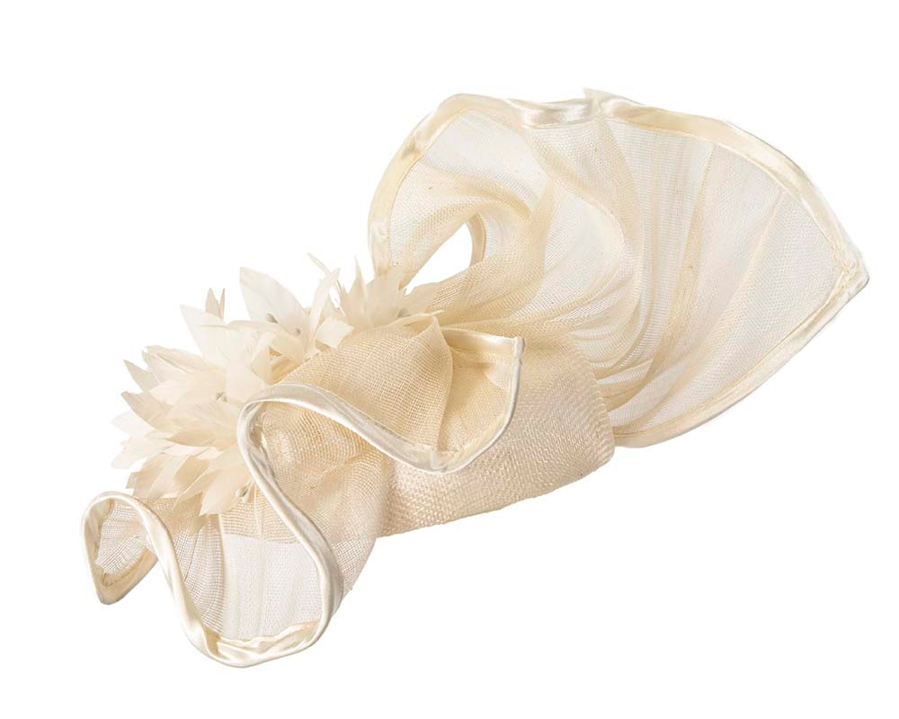 Sculptured cream racing fascinator with feather flowers by Fillies Collection