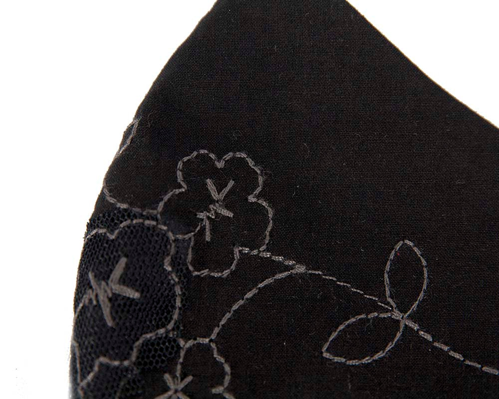 Comfortable re-usable black face mask with flower embroidery