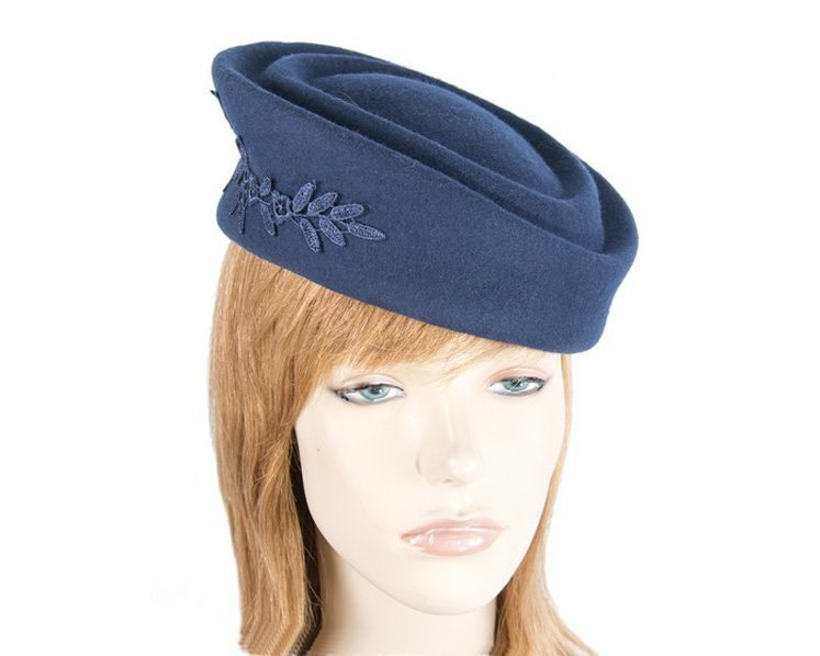 Large navy felt beret hat with lace