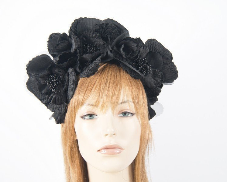Black flower halo fascinator