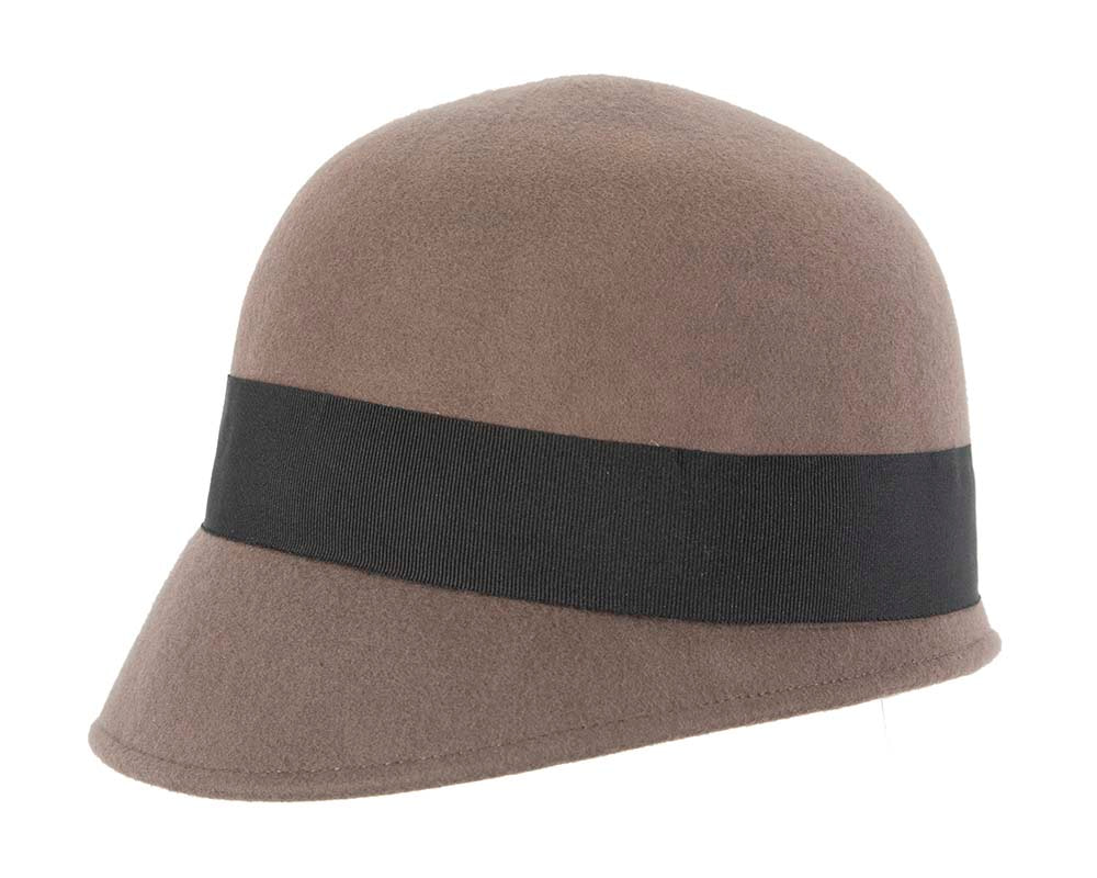 Grey winter fashion bucket hat with bow by Cupids Millinery