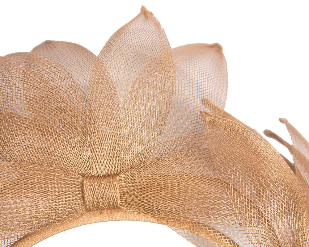 Gold crinoline crown fascinator by Max Alexander