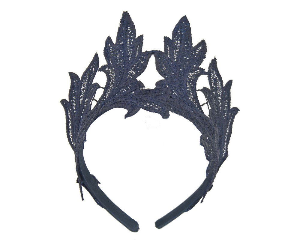 Navy lace crown fascinator headband by Max Alexander