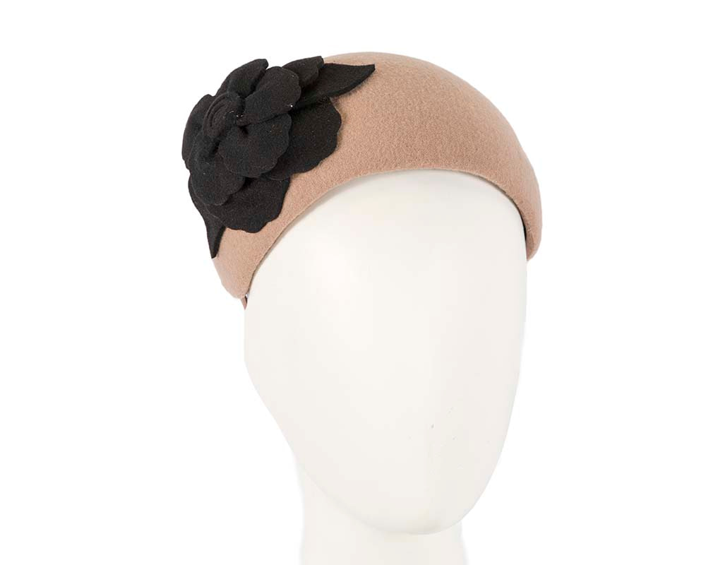 Wide beige & black winter headband with flower by Max Alexander
