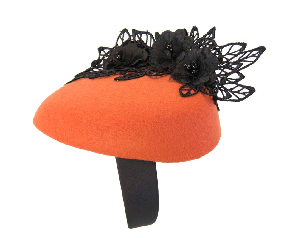 Orange & black winter pillbox with lace