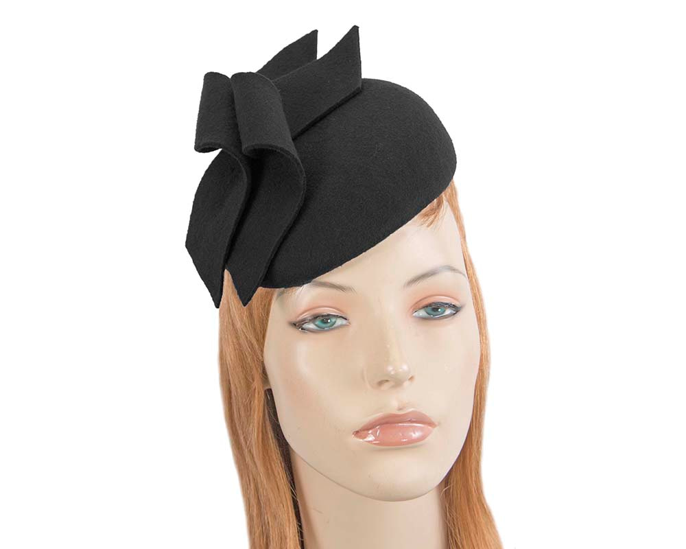 Modern black winter felt pillbox by Max Alexander
