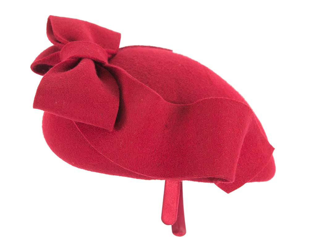 Large  felt red winter racing fascinator hat by Cupids Millinery