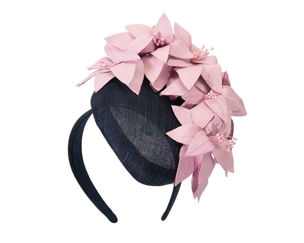 Navy & pink pillbox with leather flowers by Fillies Collection