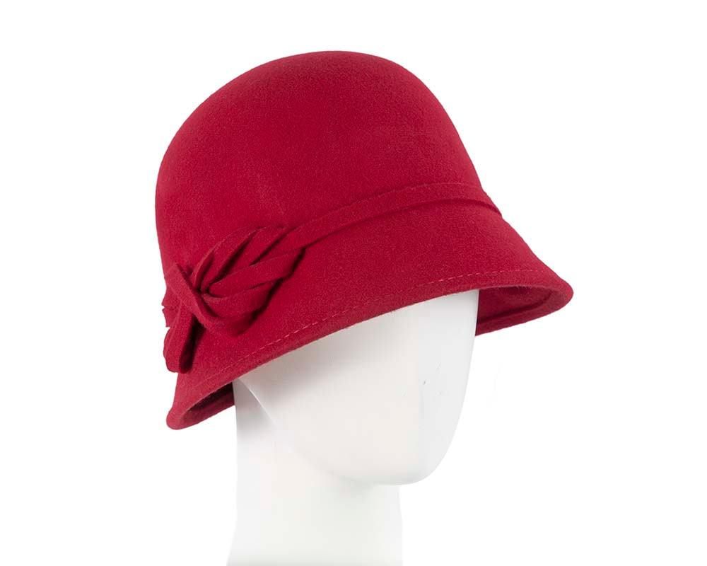 Red felt bucket cloche hat by Max Alexander