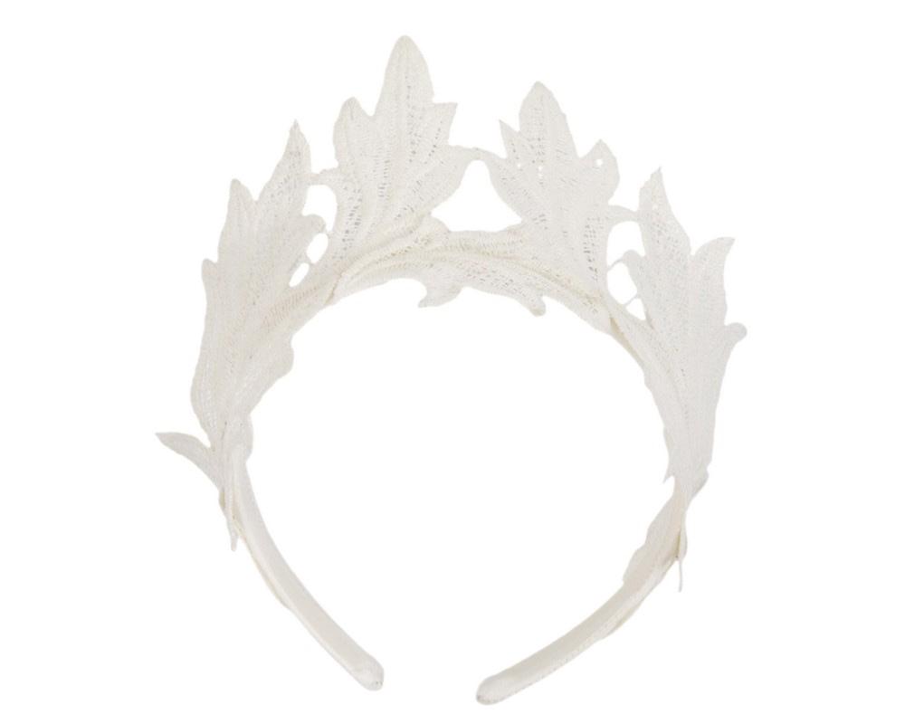 Cream lace crown fascinator headband by Max Alexander