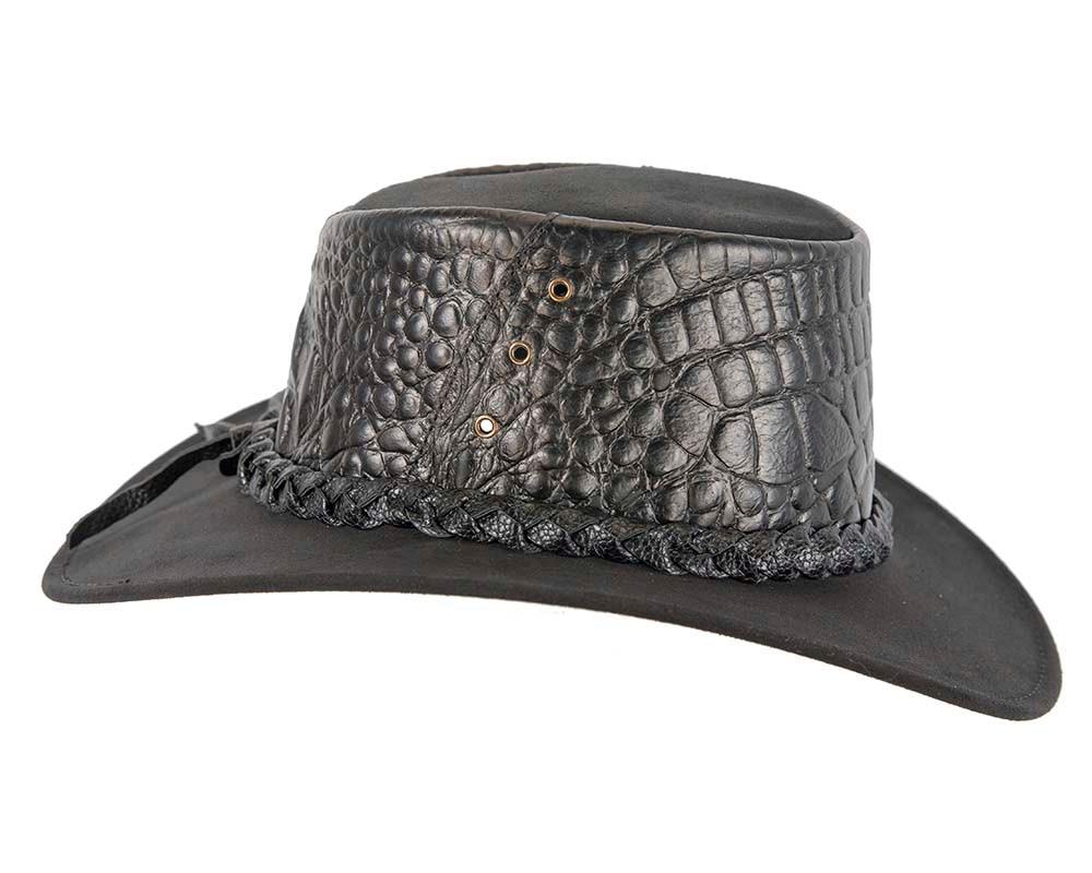 Black Australian Crocodile Print Leather Bush Outback Jacaru Hat