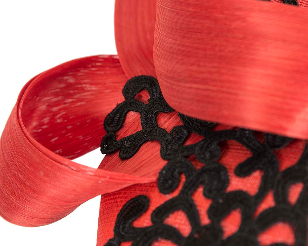 Stunning orange pillbox fascinator with lace by Fillies Collection