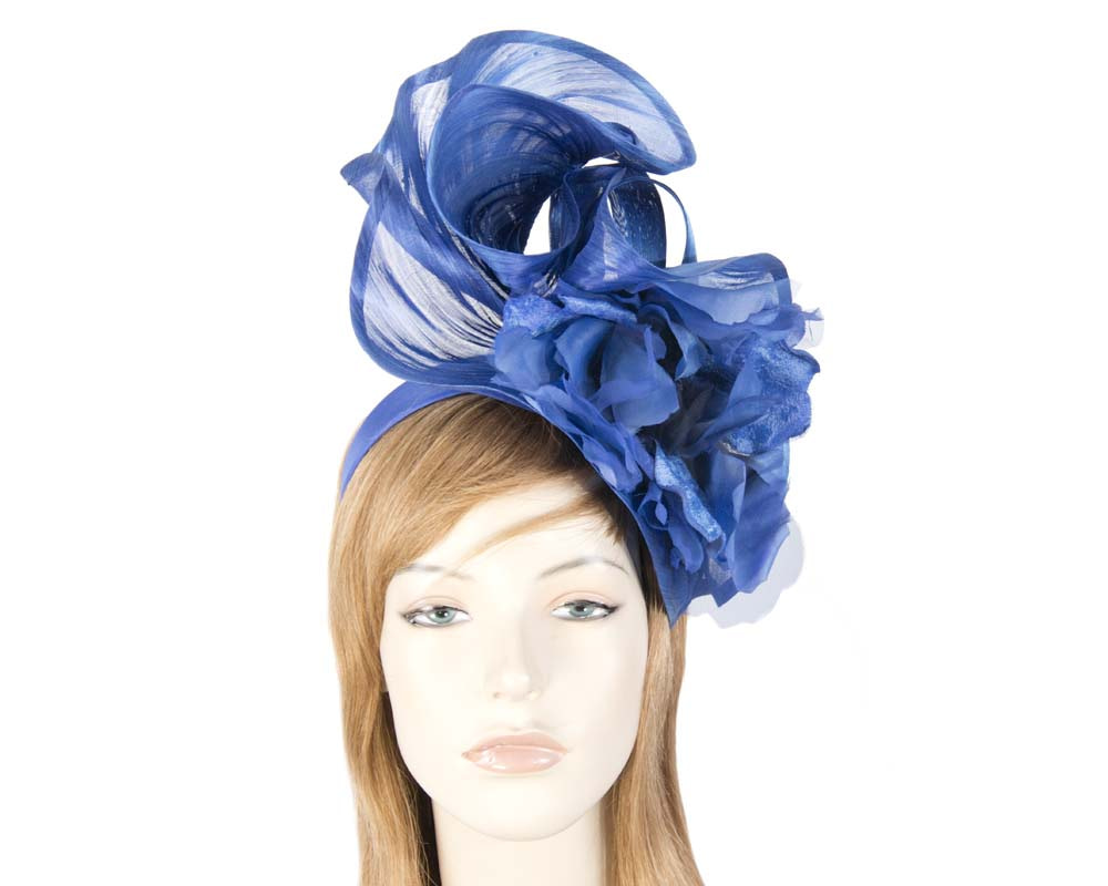 Bespoke large royal blue fascinator