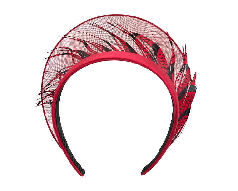 Exclusive red feather crown fascinator