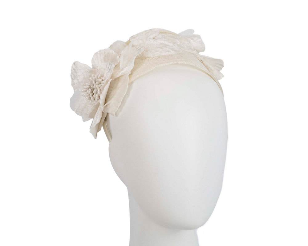 Wide cream flower headband fascinator by Max Alexander
