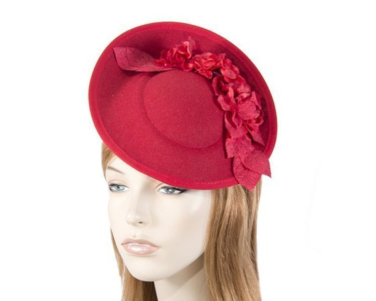 Large red winter racing fascinator with flowers