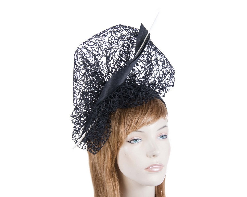 Bespoke black & white lace fascinator