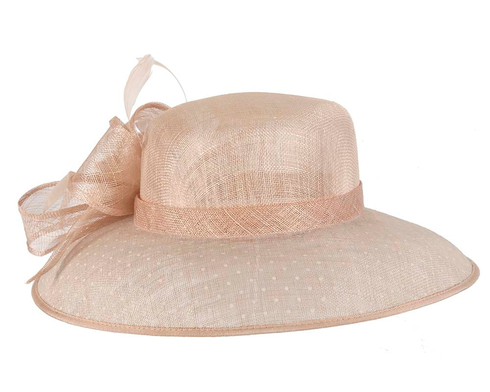 Large Nude Ladies Fashion Racing Hat by Cupids Millinery