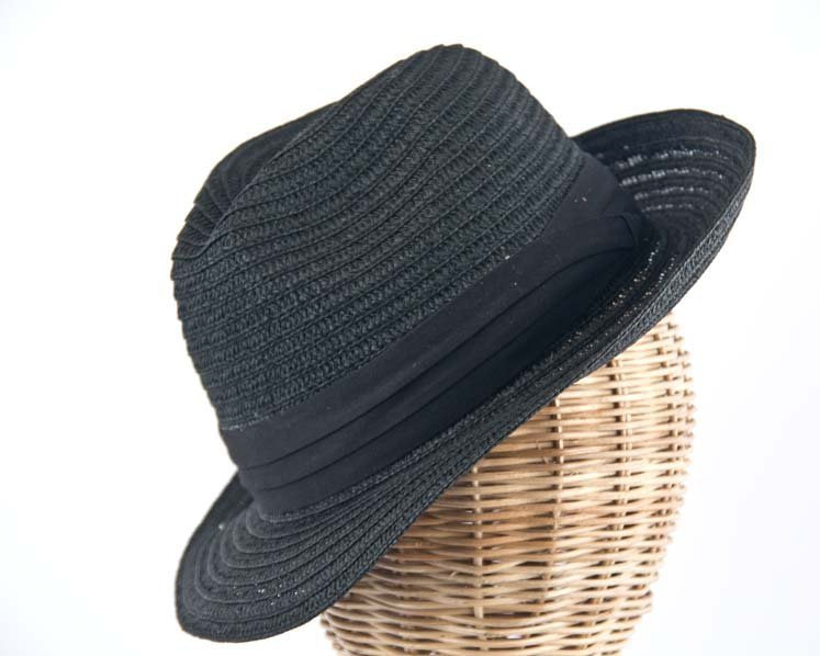 Black mens summer fedora M104B