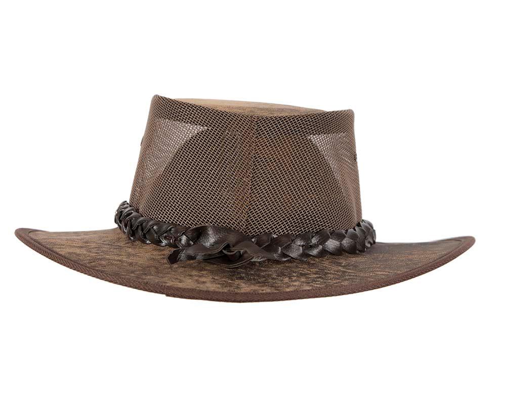 Stonewash Brown Australian Kangaroo Leather Cooler Jacaru Hat
