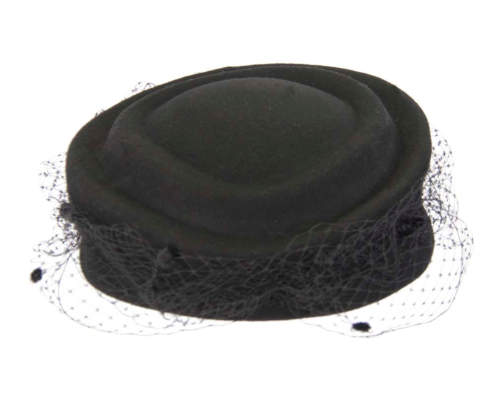 Large black felt beret hat