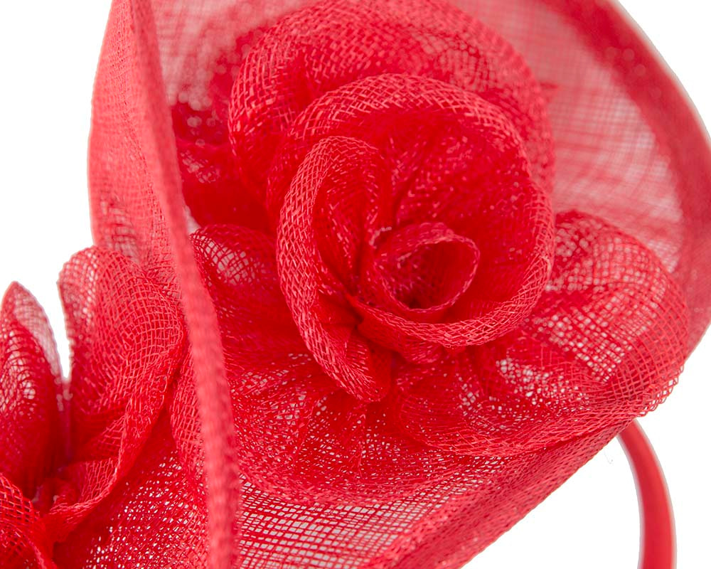 Tall red sinamay fascinator by Max Alexander