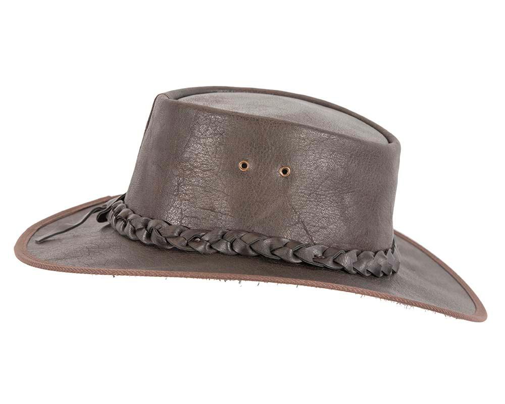 Brown Australian Buffalo Leather Bush Outback Jacaru Hat